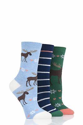SockShop Women Wild Feet Gift Boxed Sloth-Mas Cotton Socks Pack of 3