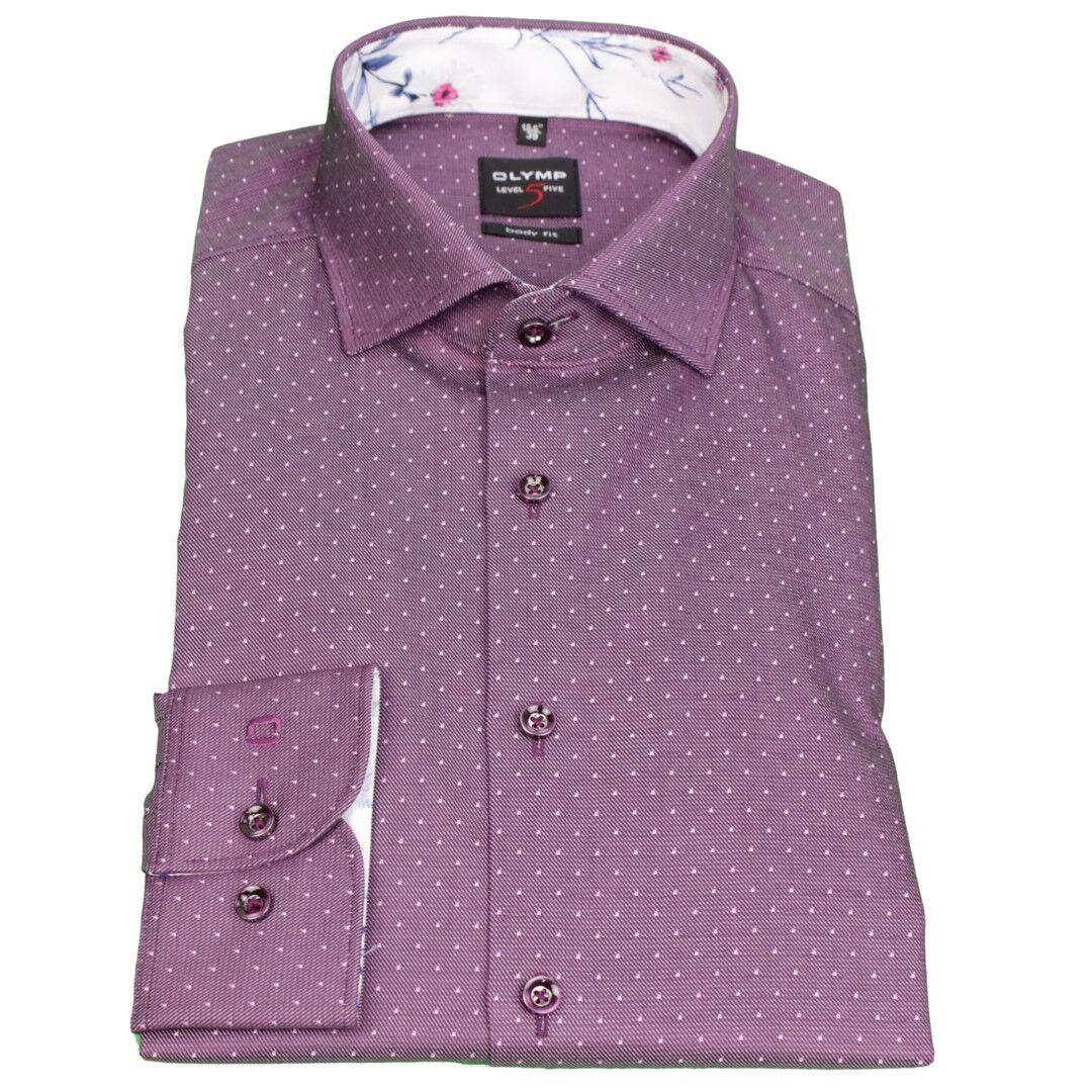 Olymp Men's Body Fit Shirt Level 5 Purple Dots 2074 14 81