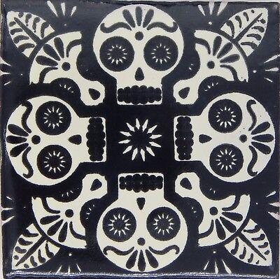 25 Mexican Talavera Decorative Handmade Skull Tiles Folk Art C396 Yellow