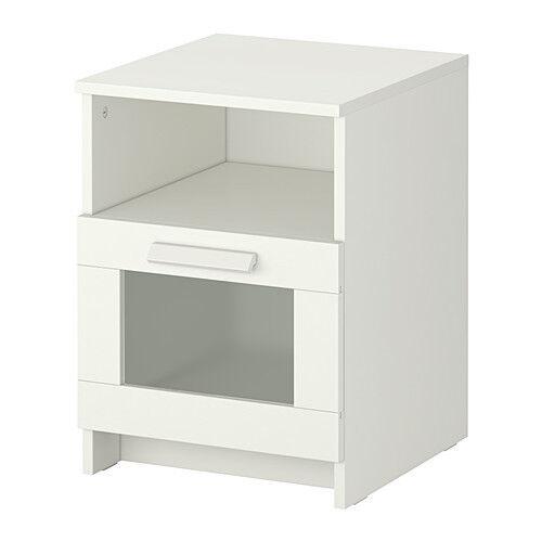 2 ikea brimnes white bedside tables ebay
