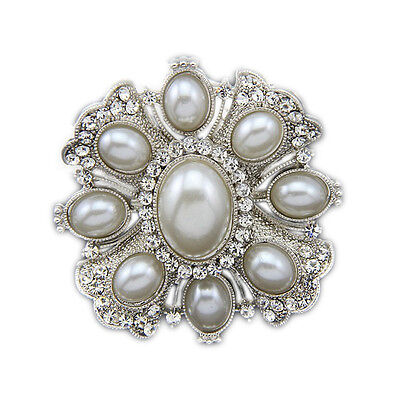 Vintage Style Corsage Weddings Silver Ivory Pearl Oval Diamante Brooch Pin BR214