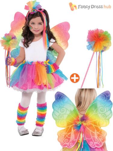 Girls Multicolour Rainbow Fairy Butterfly Costume Wings Tutu Wand Fancy Dress