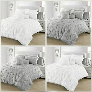 Pintuck-Pleated-Duvet-Cover-with-Pillowcase-Bedding-Set-Charcoal-White