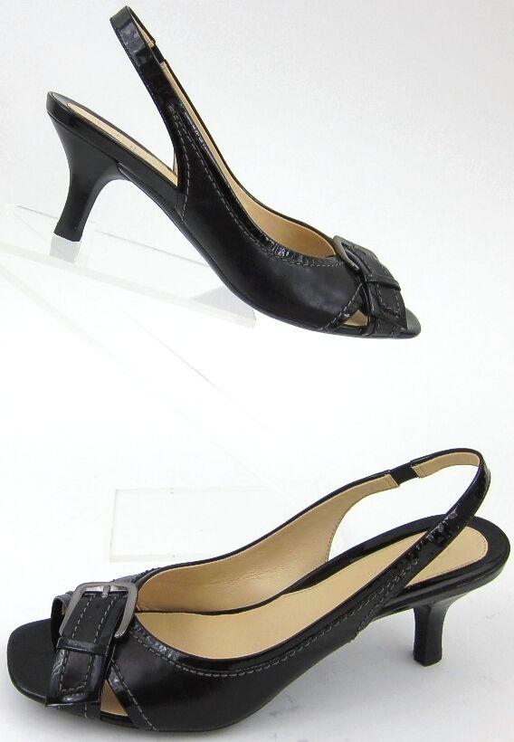 Cole Haan Slingback CrissCross Buckle Patent Leather Heels Size 8.5B Worn Twice