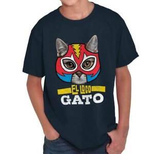 Il-PAZZO-Gatto-Divertente-Messicana-Wrestler-Pet-proprietario-Novita-Giovanile-T-Shirt