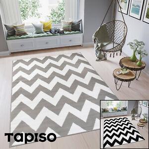Teppich-Kurzflor-Grau-Zick-Zack-Weiss-Marokkanisch-Modern-Designer-Wohnzimmer-NEU