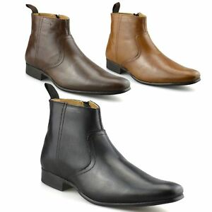 Mens-New-Leather-Zip-Up-Smart-Formal-Chelsea-Dealer-Work-Ankle-Boots-Shoes-Size