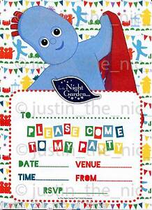 in the night garden childrens girls boys birthday party invitations