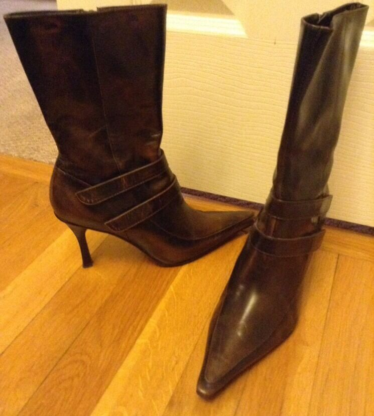 Nine West Vizgoldgenuine Leather Sz 6.5M Heel Boots