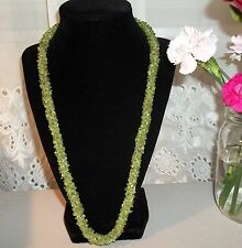 Sterling Silver Braided Peridot Rope Necklace Wide Gemstone Novica 925 India