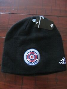 Actif Chicago Fire Juniors Football Futbol Adidas Climawarm Beanie Woolie Hat Cap Noir-afficher Le Titre D'origine