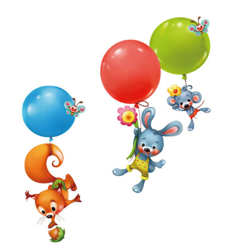 Cartoon animal Wall Sticker Squirrel rabbit balloon Art kids room nursery de lb