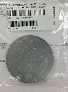 """Indium Antimony Sputter Target, 2"""" x 1/8"""" bonded to copper, by Lesker"""