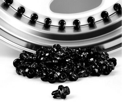 120 X remaches tuercas llanta de rueda de plástico negro aleaciones de reemplazo de labios Pernos Llantas J