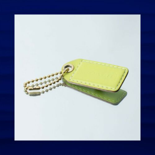 2.5″ Large COACH LIME GREEN LEATHER KEY FOB BAG CH