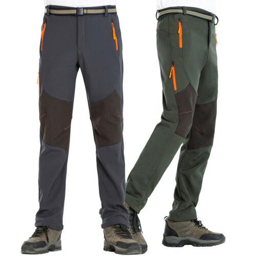 Mens Hiking Pants Outdoor Waterproof Windproof Softshell Fleece Slim Snow Ski