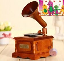 WOOD PHONOGRAPH WIND UP MUSIC BOX BARNEY I LOVE YOU