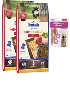 2x15kg Bosch Mini Adulte Agneau & Riz 80g oreilles de lapin