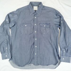 BILLY-REID-Standard-Cut-Mens-Button-Down-Work-Shirt-Blue-White-Striped-XL-Fit-3