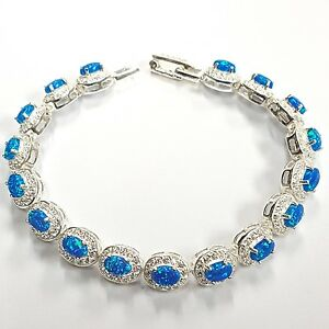 Splendido-stile-art-deco-Blue-Fire-Gilson-opale-Braccialetto-925-Argento-Sterling