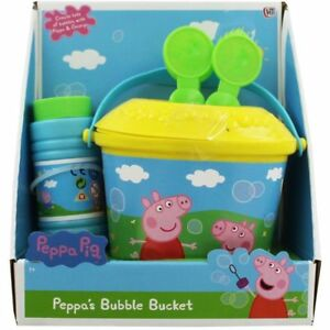 New-Peppa-Pig-amp-George-Bubble-Bucket-with-Non-Spill-Bubbles-Solution-Kids-Toys