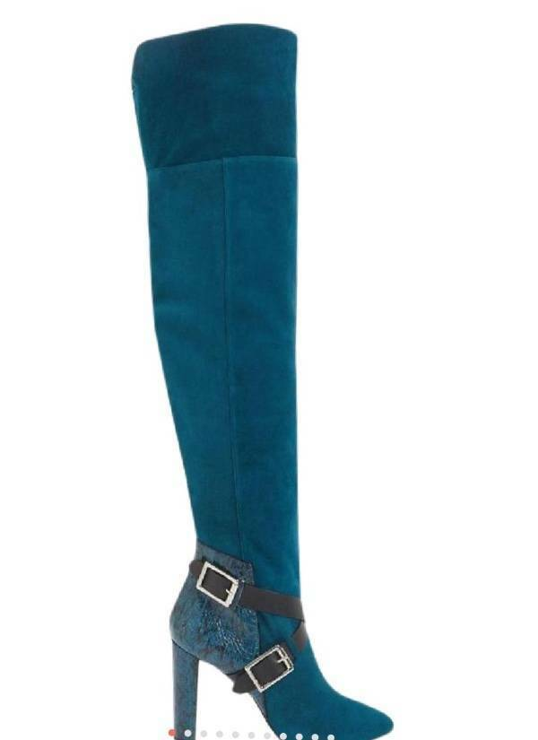 NEW JIMMY CHOO DOMA OVER THE THE THE KNEE SUEDE SNAKE bottes SZ 37 95ce59