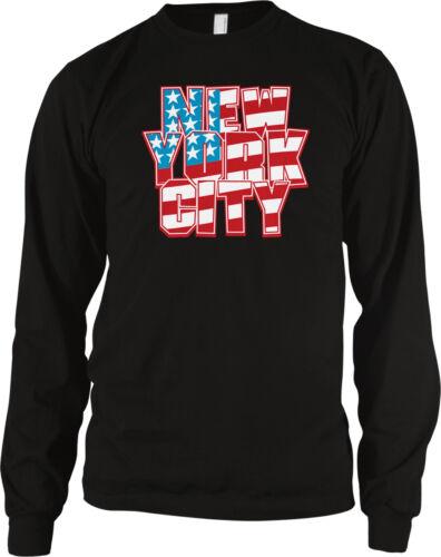 New York City NYC USA American Flag Stars Stripes Patriotic Long Sleeve Thermal