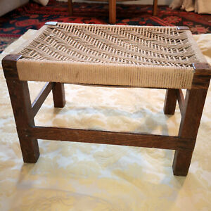 Surprising Details About Delightful Vintage Wooden Stool Patterned String Seat 11Wx15X10High Handmade Onthecornerstone Fun Painted Chair Ideas Images Onthecornerstoneorg