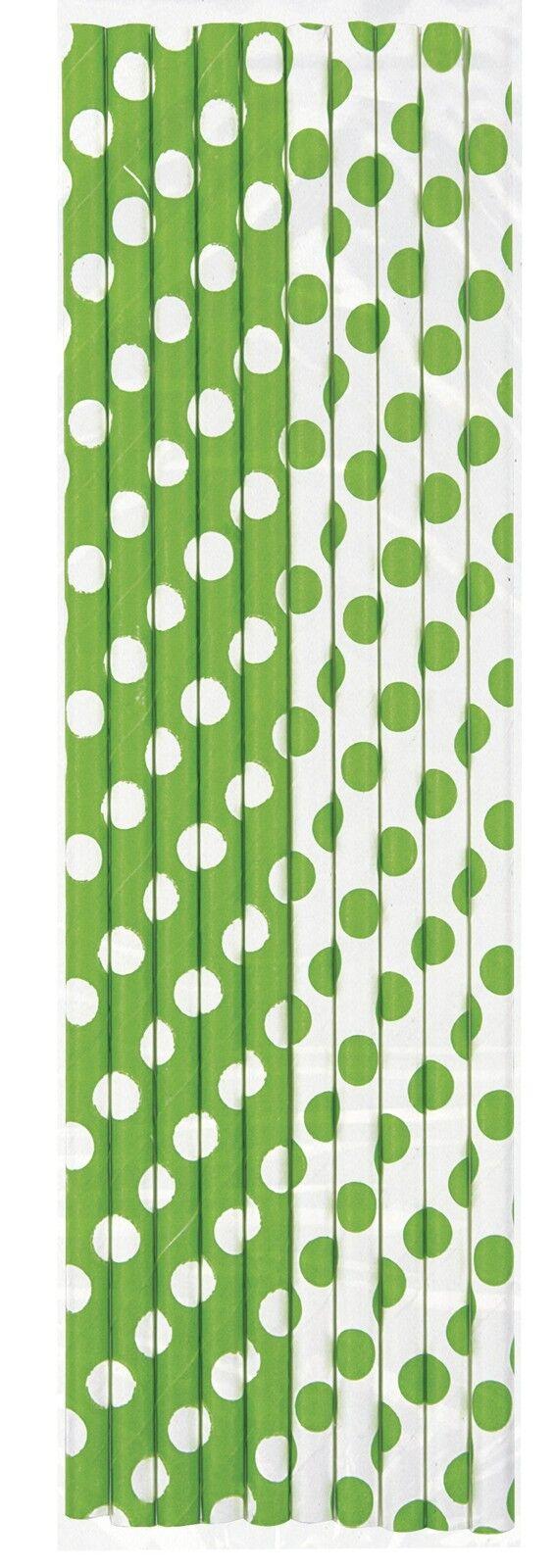 Lime Green /& White Polka Dot Paper PartyCelebrationDrinking Straws 10-60pk