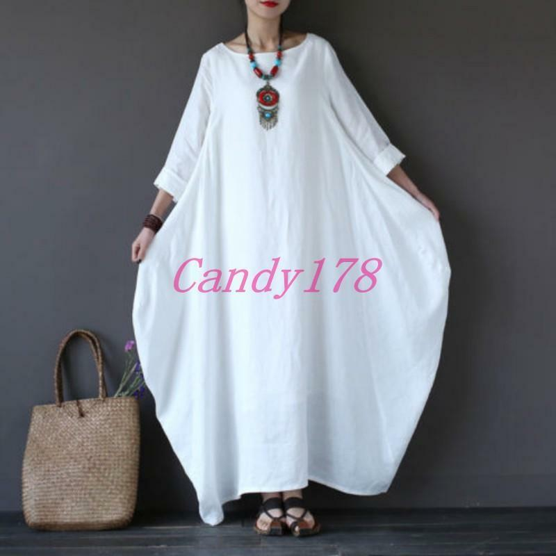 Retro Women Caftan Kaftan Linen Arab Caftan Casual Loose Maxi Gown Long Dress