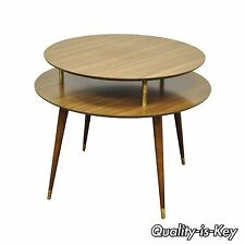 "Vintage 27"" x 33"" Mid Century Modern 2 Tier Round Accent Atomic Lamp Side Table"