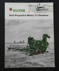 "1953 ""THE OLIVER MODEL 33 SELF-PROPELLED COMBINE"" SALES CATALOG BROCHURE MINTY"