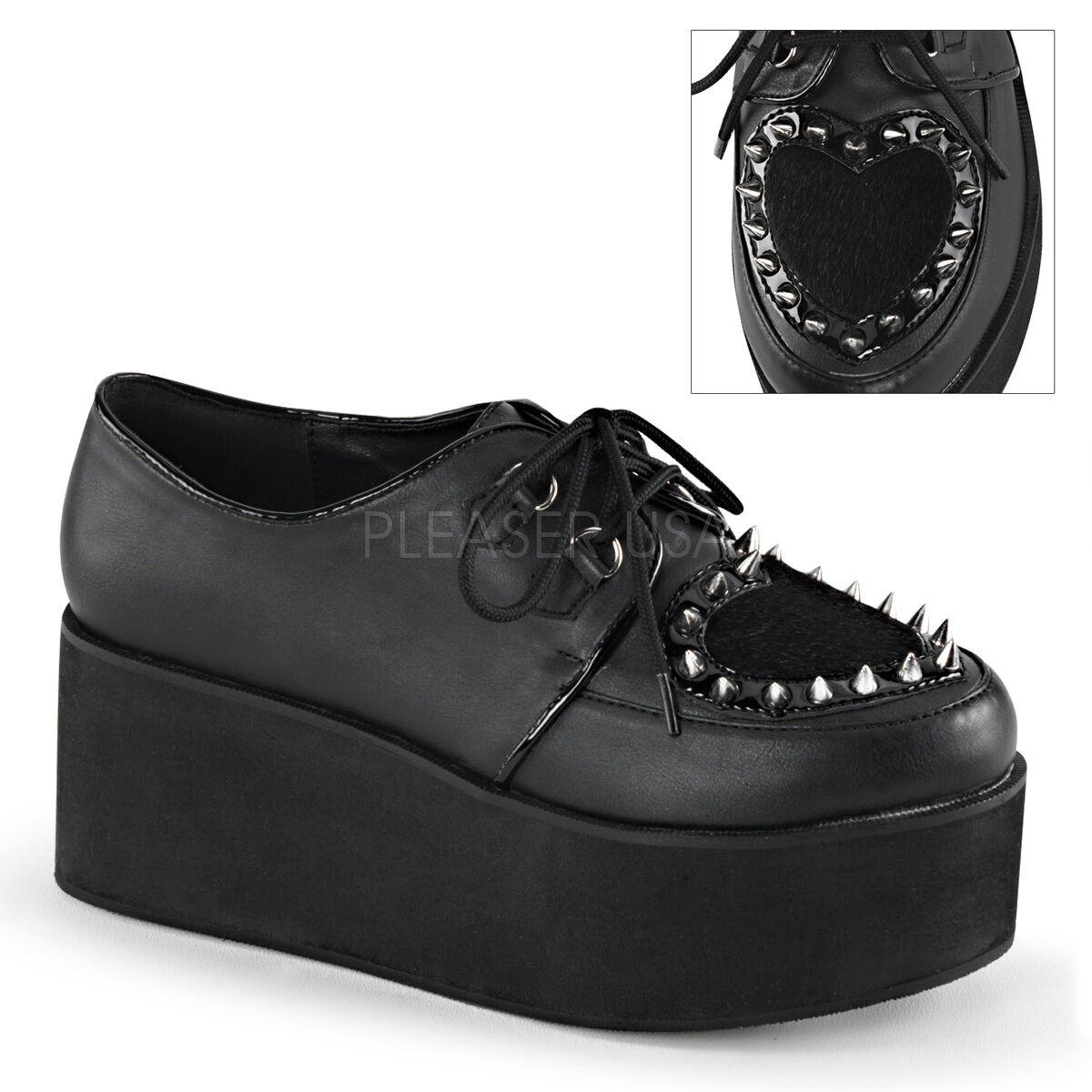 BIG SALE DEMONIA GRIP-02 Punk Goth Platform Studded Heart Creepers Schuhes NEU 11