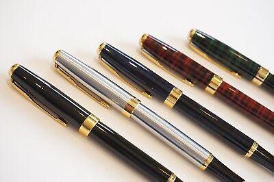 UK! BAOER #388 Red Marble Rollerball Pen Gold Trim 0.7mm Black Blue Ink