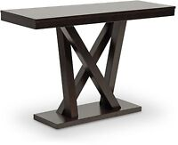 Modern Console Sofa Table Contemporary Dark Brown Wood Foyer Entryway Furniture
