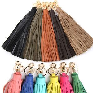 Women-bag-accessory-genuine-leather-tassel-charm-Key-chain-ring-Handbag-ornam397