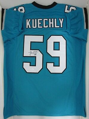 finest selection 8a500 7a4f9 Panthers Linebacker LUKE KUECHLY Signed Custom Lite Blue Jersey AUTO -  JSA!! | eBay