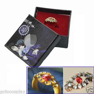 Black-Butler-Kuroshitsuji-Alois-Trancy-039-s-Cosplay-Gold-Ring-New-in-Box