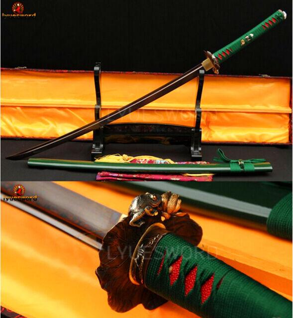 Handmade Japanese Samurai KATANA Sword Red Folded Steel Sharp Blade Frog Tsuba