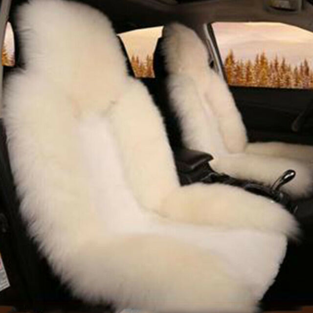 1 x High Quality Pink Fur Sheepskin Front Car Seat Cover Soft Warm Wool Mat Pad