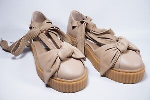 sports shoes 2c4d7 52f29 Puma Fenty By Rihanna Oatmeal Leather Bow Creeper Sandals Sz ...