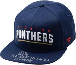 Aleksander Barkov Panthers Signed Blue Cap & 1st Hat Trick 12/15/18 Insc - LE 16