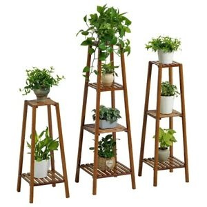 BAMBOO-WOODEN-SHELF-PLANT-STAND-LADDER-BOOK-SHELF-STORAGE-INDOOR-OUTDOOR