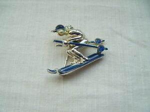 Vintage-Figural-bicis-Broche-Pin-Azul-Esmalte-Piedras-de-Cristal-Perlas-de-Imitacion