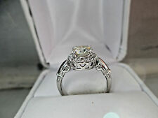 Antique Russian Style 14K White Gold 1.14Ct Light Yellow Diamond Engagement Ring