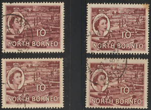 NORTH-BORNEO-1954-QE-II-PICTORIAL-DEFINITIVE-10cX4