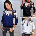 Mode Damen Retro Shirts Pullover Bluse Tops Oberteil Langarm T-shirt