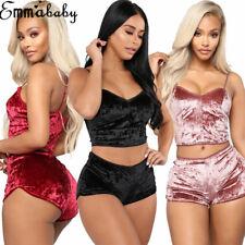 US Women's Underwear Sexy Lingerie Pajamas Velvet Crop Tops Bralette&Panty Sets