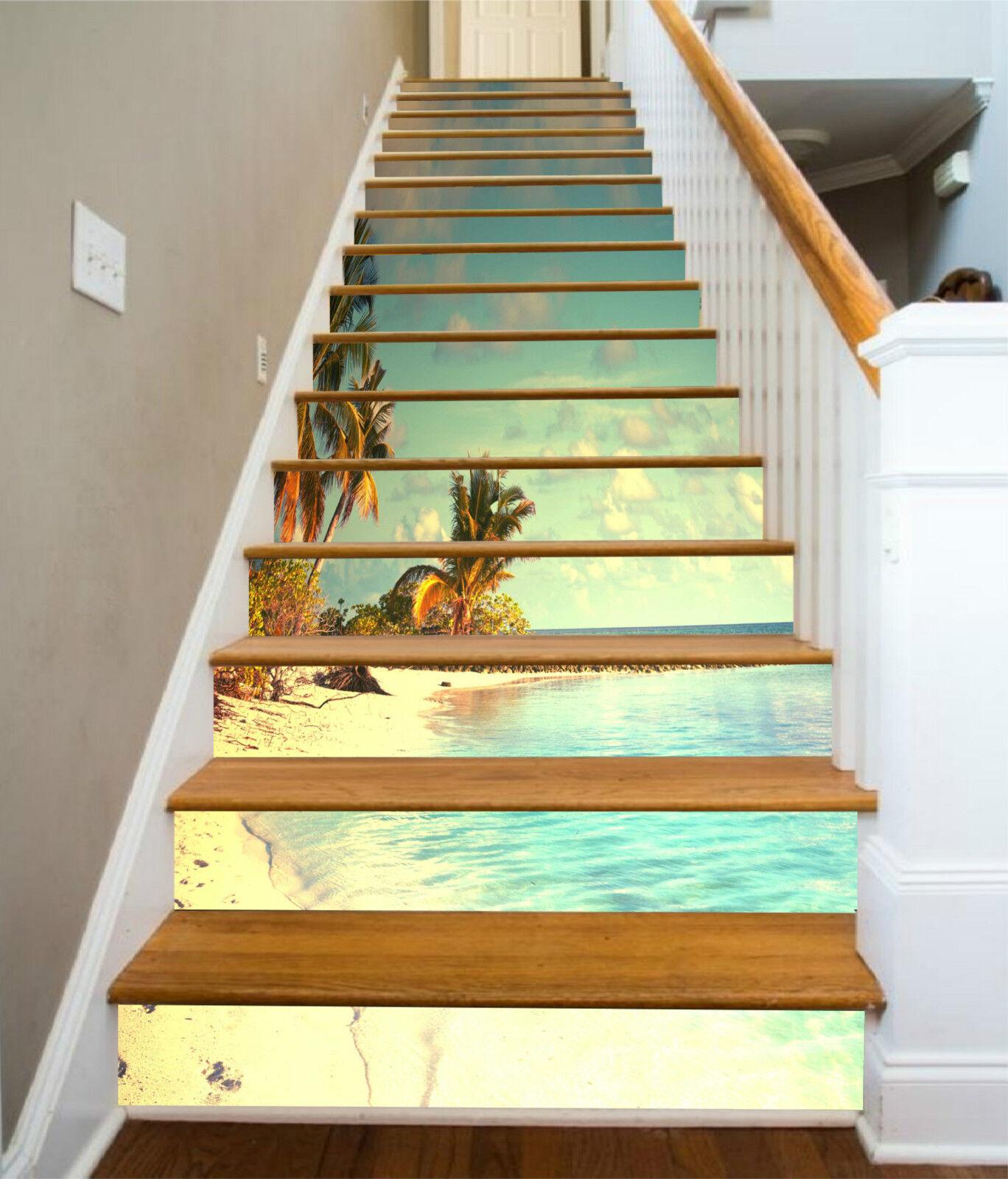 3D Strand Ansicht 9 Stair Risers Dekoration Fototapete Vinyl Aufkleber Tapete DE