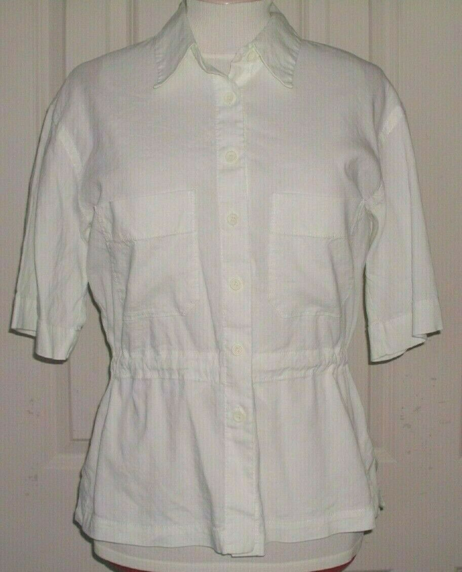 EILEEN FISHER WOMEN'S TUNIC TOP BLOUSE S S LINEN BLEND WHITE SIZE SMALL